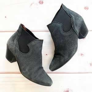 Sixtyseven   Suede Snakeskin Ankle Booties